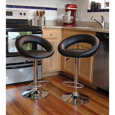 AmeriHome Classic Relaxed Bar Stool, Set of 2, Black