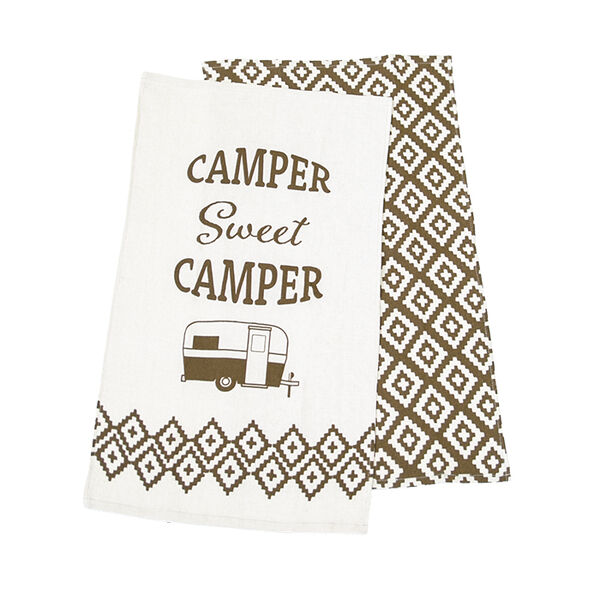 Sweet Camper Dish Towel Set, 2-Pack, Beige