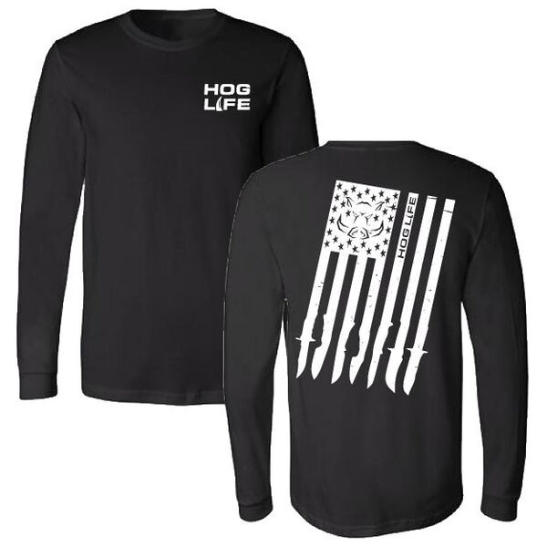 Hog Life Men's Flag Long-Sleeve Tee