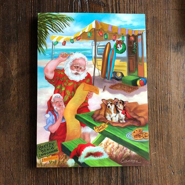 Santa at the Beach Christmas Cards