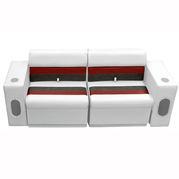 Deluxe Pontoon Furniture w/Toe Kick Base - Front Group 5 Package, White/Red/Char