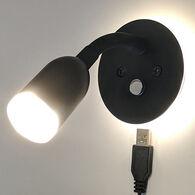 Vance USB equipped 12 volt LED Reading Light, Black Frame and White LED