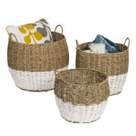 Honey Can Do Round Nesting Seagrass 2-Color Storage Baskets with Handles – Natural/White, Set of 3