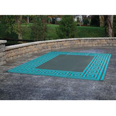 Reversible Greek Motif Design Patio Mat, 6' x 9', Teal