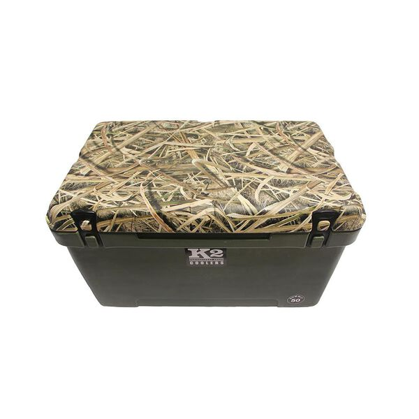 K2 Summit 50 Quart Cooler, Duck Boat Green and Shadowgrass Blade Camo Lid