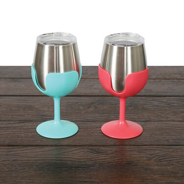 Stainless Steel Wine Tumbler with Removable Stem, 2-Pack Blue/Pink
