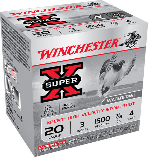 "Winchester Super-X High-Velocity Steel Shot Shells, 20-Ga., 3"", #4 Shot, 100 Rounds"