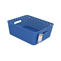 Home Collections Shelf-Size Storage Bin with Cutout Handles, Navy Blue