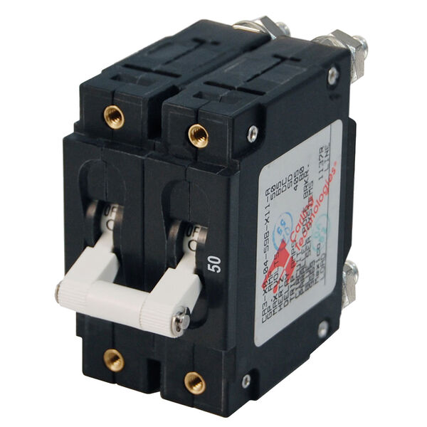 Blue Sea AC Circuit Breaker C-Series Toggle Switch, Double Pole, 50A