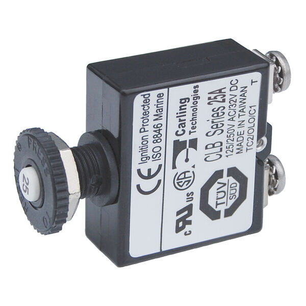 Blue Sea Systems Push-Button Reset-Only Screw Terminal Circuit Breaker, 25 Amps