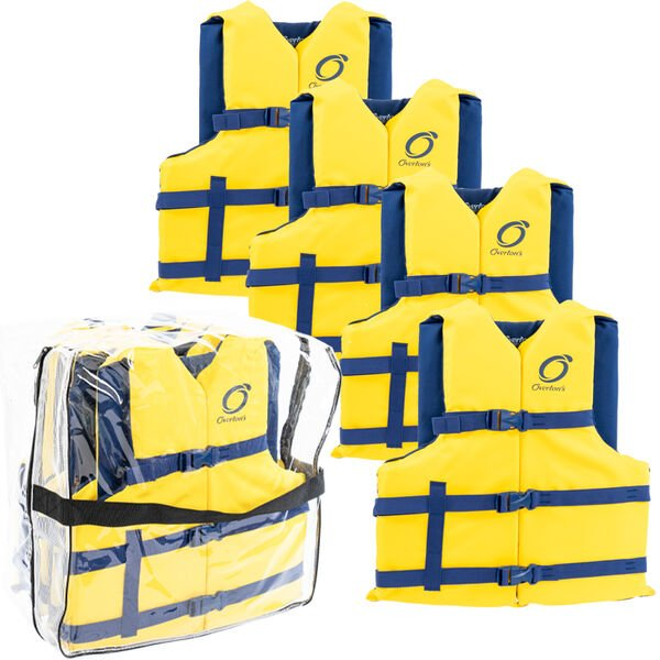 Universal Adult Life Jackets 4-Pack, Yellow