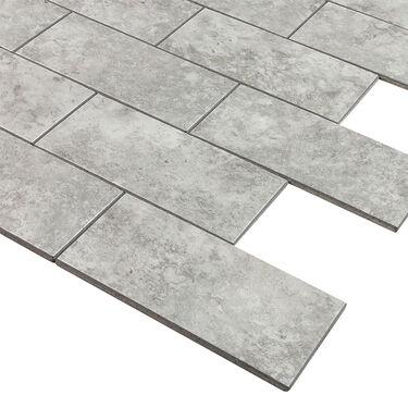 "Peel-and-Stick Mosaic Wall Tile, 12"" x 13"", Matte PVC Brick Stone"