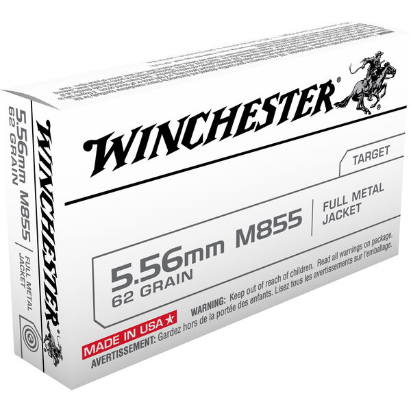 Winchester USA M855 Rifle Ammo, 5.56mm, 62-gr., FMJ
