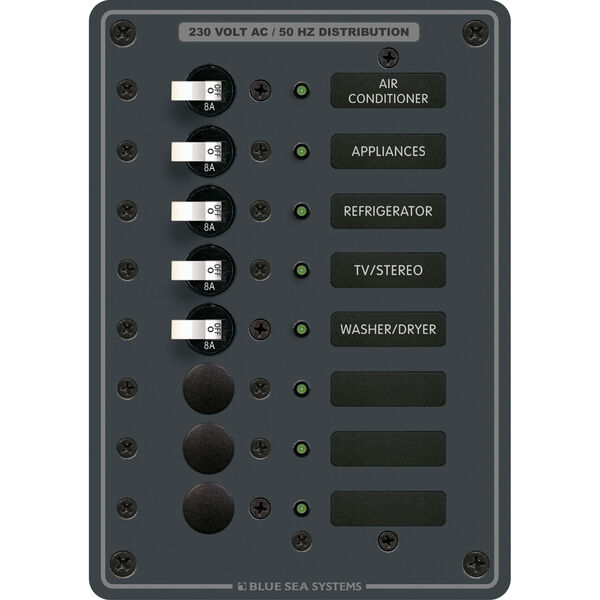 Blue Sea Systems Panel, 230V AC (European), 8 Positions