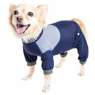 Dog Helios ® 'Tail Runner' Lightweight 4-Way-Stretch Breathable Full Bodied Performance Dog Track Suit, X-small, Blue & Grey
