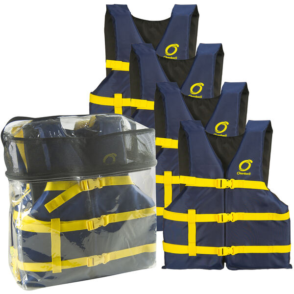 Overton's Universal Adult Life Jackets 4-Pack, Blue