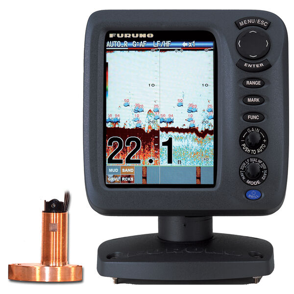 """Furuno FCV627 5.7"""" Color Fishfinder With Thru-Hull Triducer And Fairing Block"""