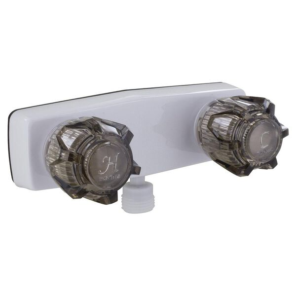"4"" Shower, White, Vacuum Breaker, Plastic Cartridge, White Knob Handles"