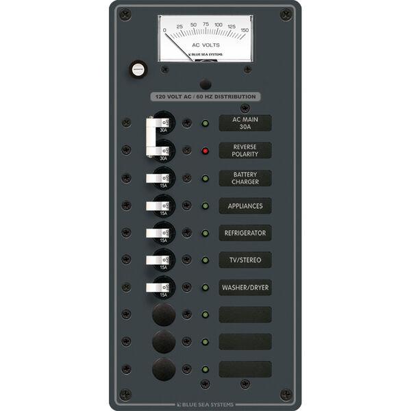 Blue Sea 120V AC Main + 8 Position Circuit Breaker Panel w/Analog Voltmeter