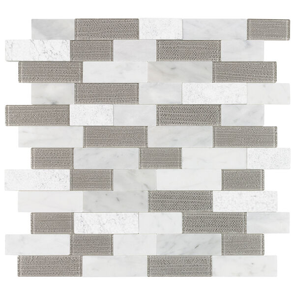 "Peel-and-Stick Mosaic Wall Tile, 12"" x 13"", Silver Mountain Beige and White"
