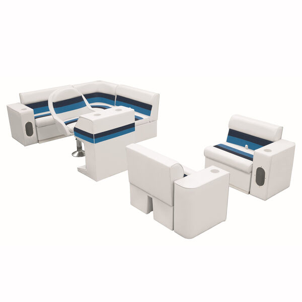 Deluxe Pontoon Furniture w/Toe Kick Base, Group 6 Package, White/Navy/Blue