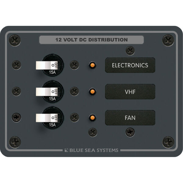 Blue Sea Systems Traditional Metal DC Panel, 3 Positions