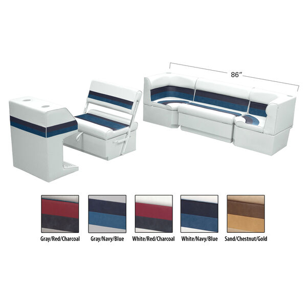Deluxe Pontoon Furniture w/Toe Kick Base - Rear Cozy Package, White/Navy/Blue