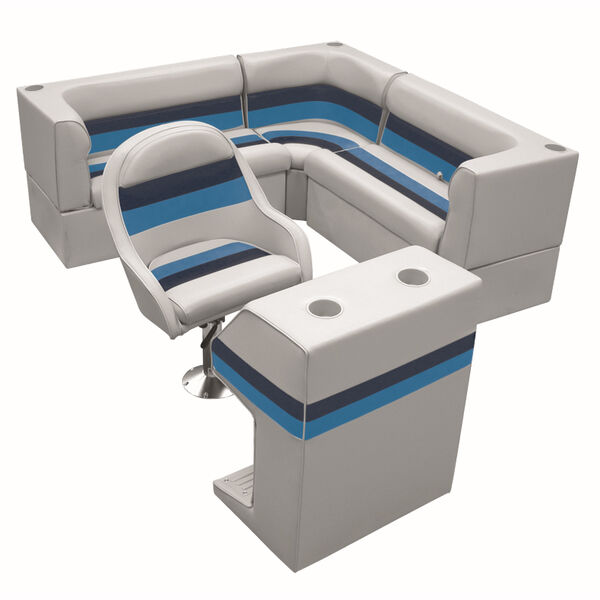 Deluxe Pontoon Furniture w/Classic Base - Rear Group Package C, Gray/Navy/Blue