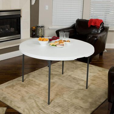"""White Round Light Commercial Fold-in-Half Table, 48"""""""