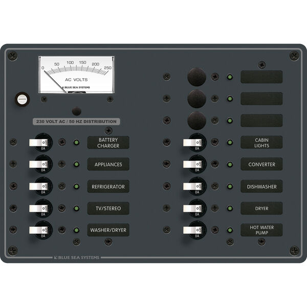 Blue Sea Systems AC 13 Position Panel (European)