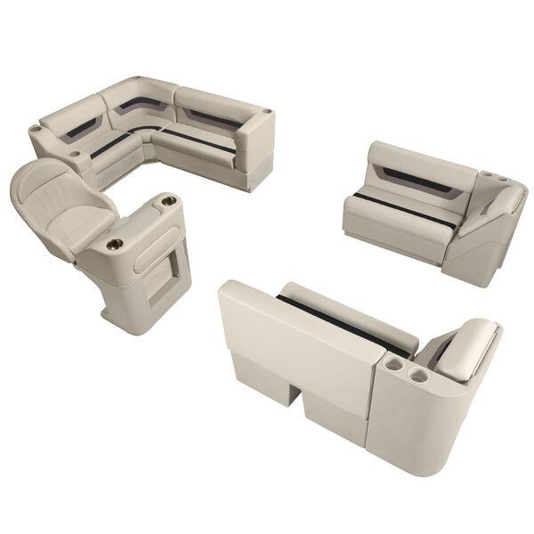 Designer Pontoon Furniture - Complete Boat Package, Platinum/Black/Mocha
