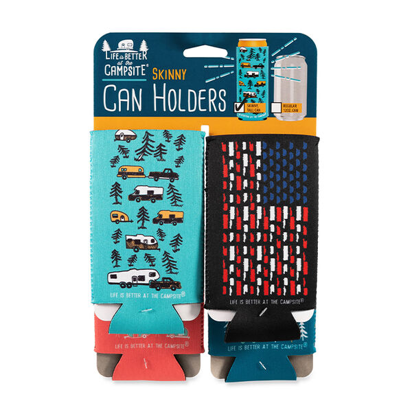 """Camco """"Life is Better at the Campsite"""" Skinny Can Sleeve, 4-Pack"""