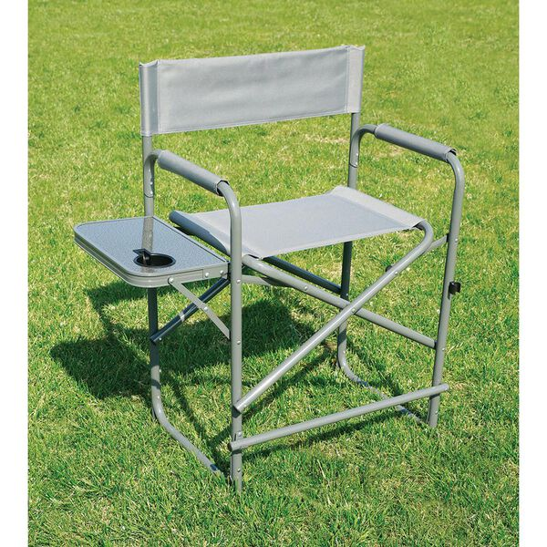 Tall Director's Chair with Solid Footrest, Gray