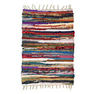 Multi-Color Narrow-Striped Chindi Rug