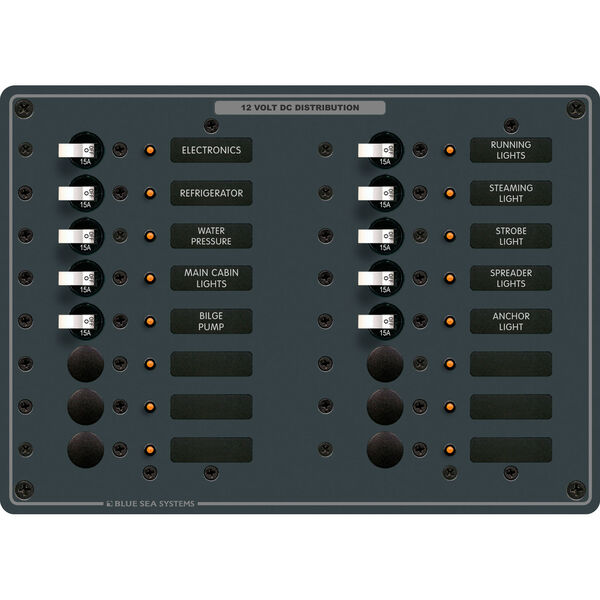 Blue Sea Systems Traditional Metal Panel, DC 16 Positions