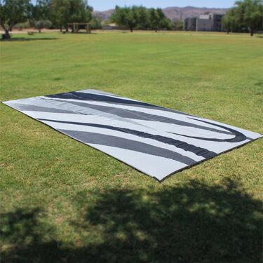 Reversible Graphic Design Patio Mat, 8' x 12', Black/Silver