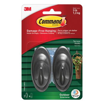 Command™ Outdoor Hooks, 2 hooks, 4 strips