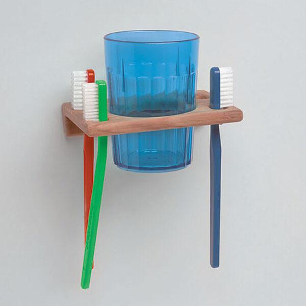"Whitecap Teak Teak Glass & Toothbrush Holder, 1-1/16""H x 4-3/4""W x 3-1/4""D"