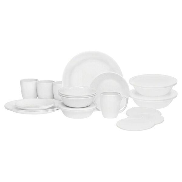 Corelle Livingware 24-piece Dinnerware Set, Winter Frost White