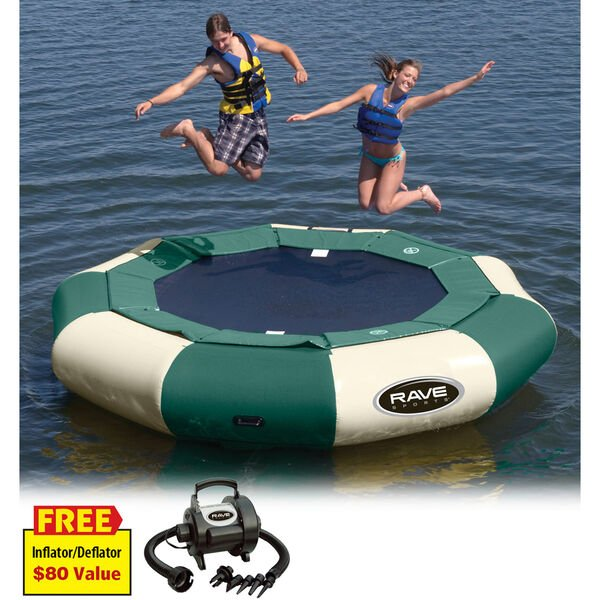 RAVE 12' Aqua Jump 120 Water Trampoline, Northwoods Edition