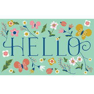 """Floral Hello Door Mat, 18"""" x 30"""""""
