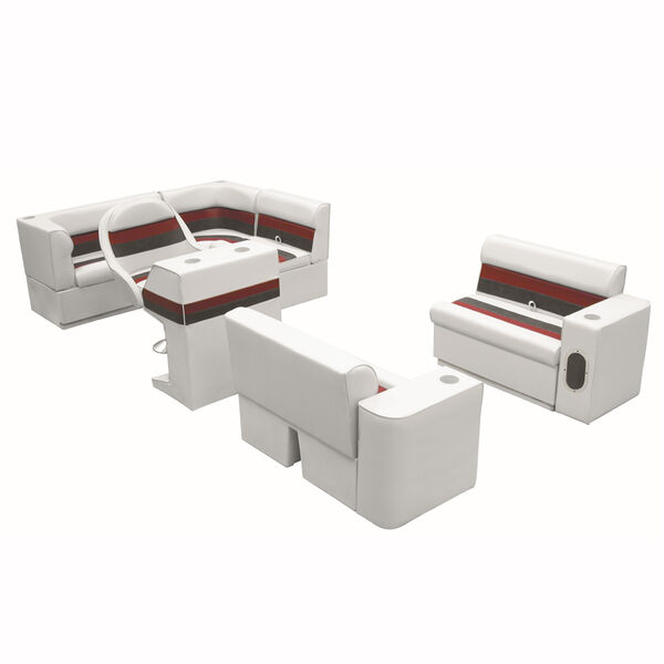 Deluxe Pontoon Seats w/Toe Kick Base, Group 1 Package Plus Stand, White/Red/Char