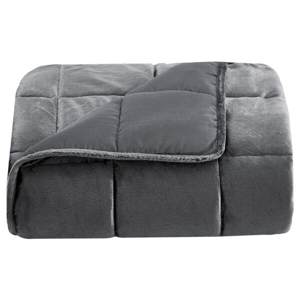 """Lazy Mondays Reversible Microfiber 15-lb. Weighted Blanket, 48"""" x 72"""", Charcoal"""