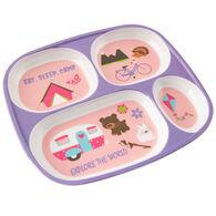 """Kid's """"Eat, Sleep, Camp"""" Food Tray, Purple"""