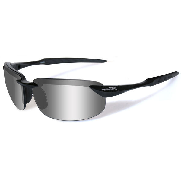 Wiley X WX Tobi Sunglasses, Gloss Black Frame/Silver Flash Lens