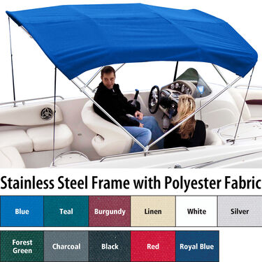 Shademate Polyester Stainless 4-Bow Bimini Top 8'L x 42''H 91''-96'' Wide