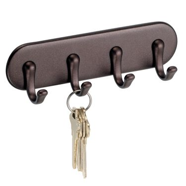 iDesign AFFIXX Peel and Stick Adhesive Key Rack, Bronze Finish