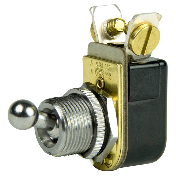 "BEP SPST Chrome Plated, 3/8"" Ball Toggle Switch, On/Off"
