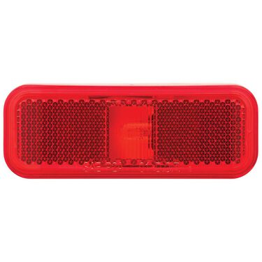 Rectangular Clearance/Marker Light; white base; two wire; red