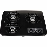 3 Burner Drop-In Cooktop, Black top